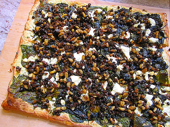 Swiss Chard & Goat Cheese Tart  with Currents & Pine Nuts