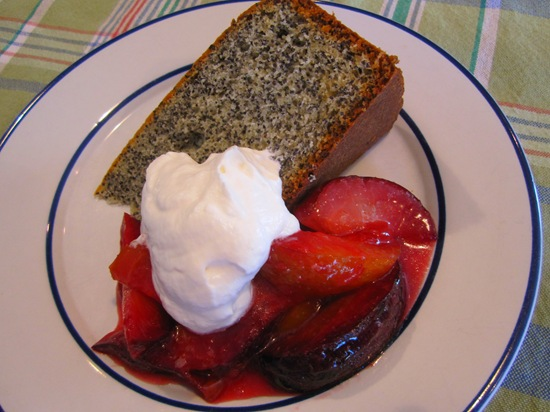Poppy Seed Cake with Roasted Plums & Whipped Cream
