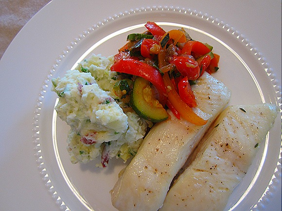Roasted Halibut with Ratatouille & Green Onion-Goat Cheese Mashed Potatoes