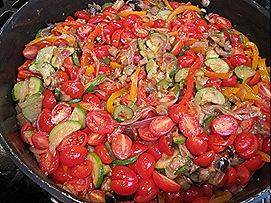 Onions, Eggplant, Bell Peppers, Zucchini, Tomatoes