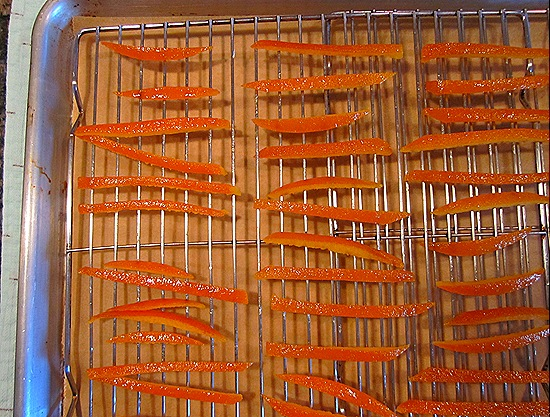 Air-Drying the Sliced Candied Orange Peels
