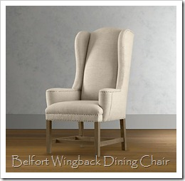 RH belfort wingback dining chair