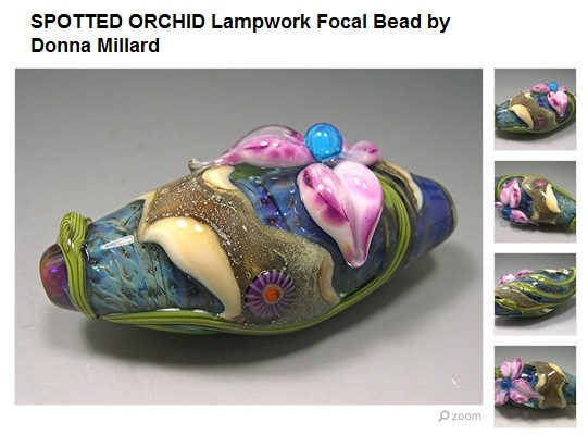 Spotted Orchid Lampwork Focal by Donna Millard