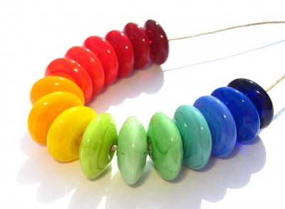Rainbow Disks Lampwork Beads by Linden Avenue Designs