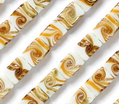White Glass Rectangle Beads with Golden Swirls from Beads Direct