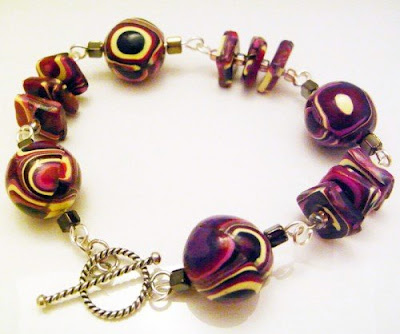 Pink and Purple Polymer Clay Bracelet by Averilpam