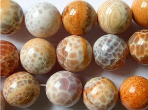 Fire Agate Round Beads from HappyMangoBeads.com