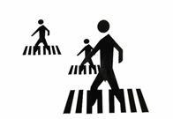 peatones en la senda peatonal señal