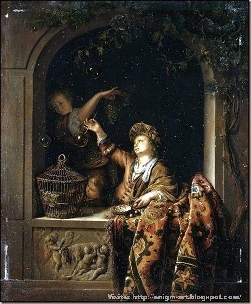 Willem Van Mieris, Les bulles de savon, 1710-1720