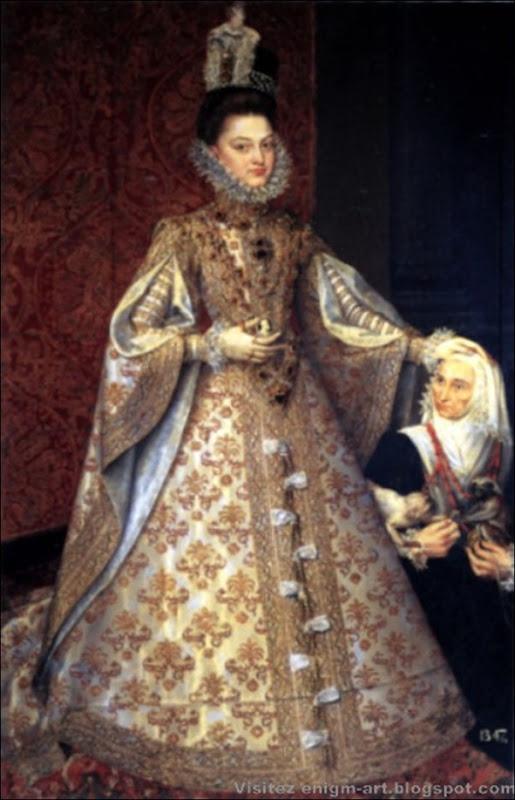 Ecole de Sanchez de Coello, L'infante Isabel Clara Eugenia avec Magdalena Ruiz, 1585