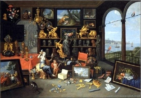 Jan van Kessel l'Ancien, Cabinet d'amateur avec Vénus à sa toilette, 1679