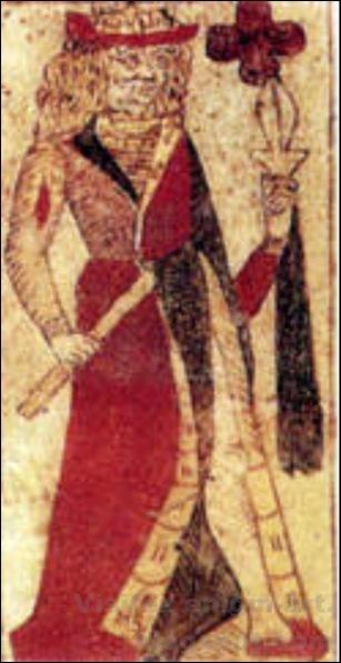 Roi de trèfle, Jeu de cartes fabriqué à Lyon, 1490-1 [1600x1200]