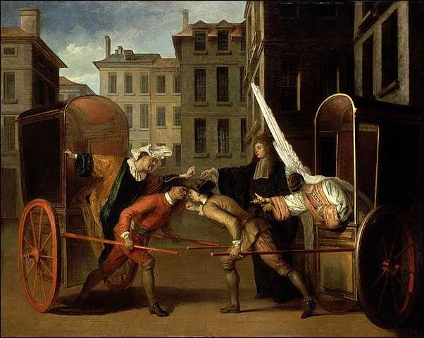 Claude gillot, les deux carrosses,1707