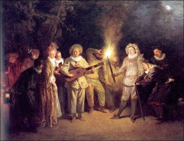 L'Amour au théâtre italien (huile sur toile de Watteau, v. 1721.