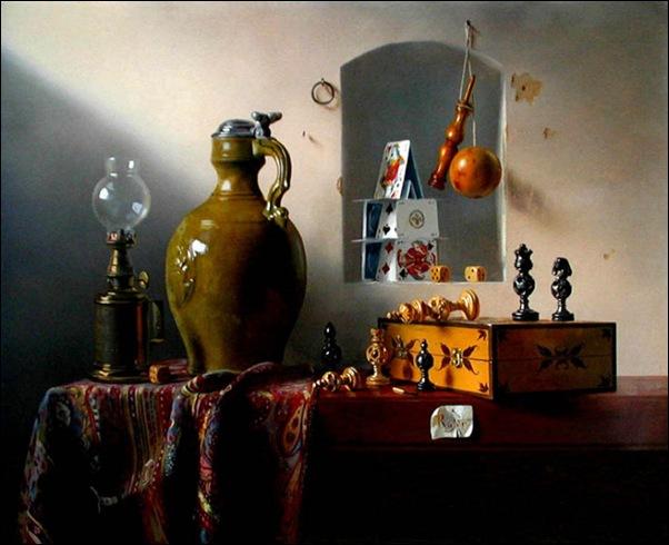 Pierre Raser, Jeu d'échecs, bilboquet, lampe, pichet 1953