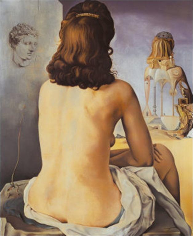 Dali, Ma femme nue regardant son propre corps devenir marches, trois vertèbres d'une colonne, ciel et architecture 1945