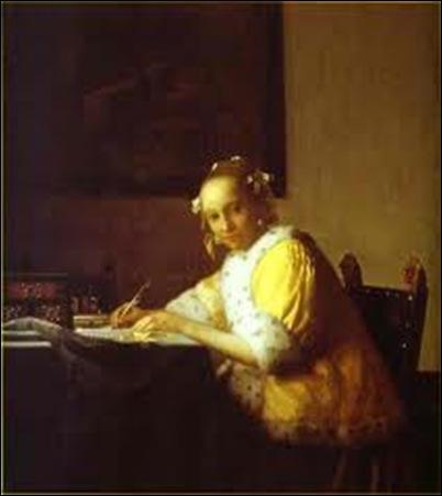Vermeer, Jeune femme écrivant une lettre