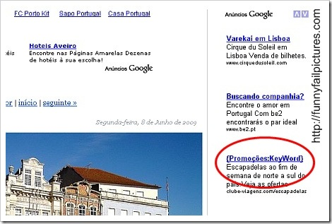 Google Adwords Fail Picture.