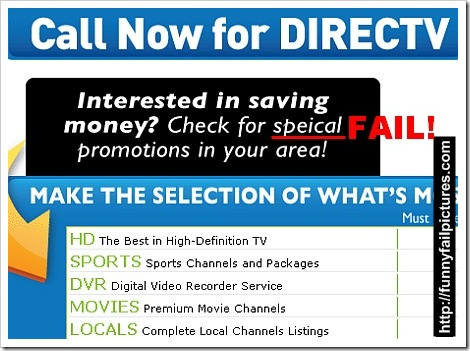 Direct TV Promotions Fail Picture | Check for speical promotions in your area (fail).