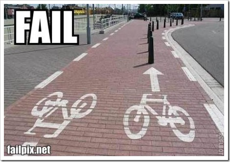 Bike path fail picture.