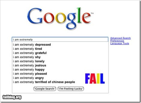 Google Suggest - Terrified of chinese people.