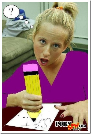 Funny adult pictures -  Blonde student.