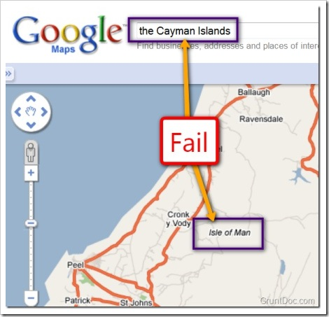 The picture shows a Google Maps fail when someone searched for the Cayman