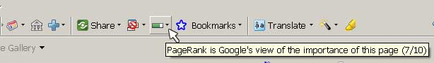 Screenshot of Google Toolbar showing a Page Rank of 7/10