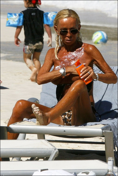 Donatella Versace Relaxing Topless On The Beach In St Barts (USA