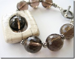 Raku Pendant and Smoky Quartz Bracelet 3