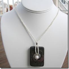 White Rice Pearl Necklace with Black Raku Pendant 2