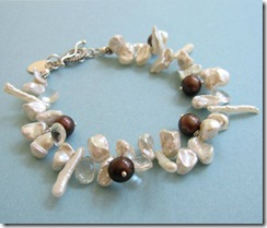 White Keshi and Brown Pearl Bracelet
