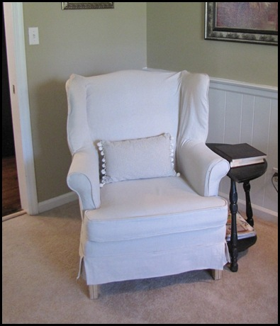 And Then I Promised You I Would Show You How I Made My Drop Cloth Slipcover  For My Wingback Chair.