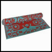 2' x 4' Floormat Floral Duo Tone in Turquoise _ Red