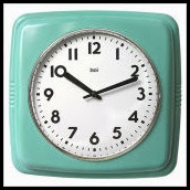 Cubist Retro Modern Wall Clock in Turquoise