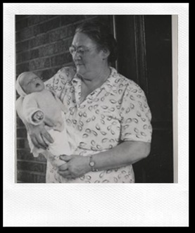 Redmond, Jessie Mae (nee Babcock) with grandson John Russell Redmond Sept Labour Day 1955, 15 Drayton Ave Kingston Ontario