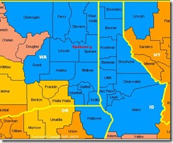Map of Spokane DMA