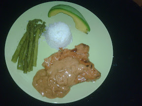 porkchop of the gods, asparagus, rice, avocado