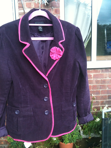 The finished jacket, purple needlecord with magenta trims