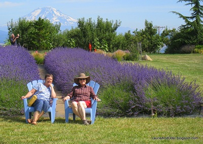 Becky and Jewel take a break at the lavender farm with Mt. Adams in the background.