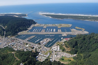 Aerial view of Salmon Harbor and Winchester Bay.