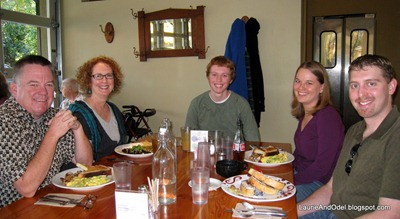 The Curley Family (my sister Nancy second from left) at breakfast.