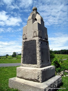 One of the many, many memorial markers at Gettysburg.