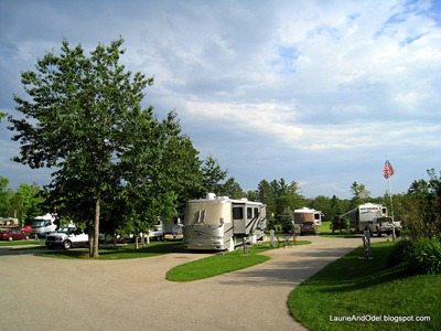 Two rows of RV sites.