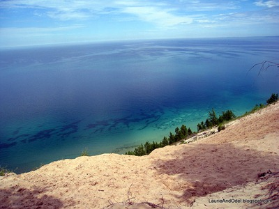 Pyramid Point overlook, around 500 feet above Lake Michigan.