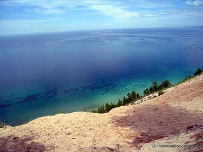 Pyramid Point overlook, around 500 feet above Lake Michigan.