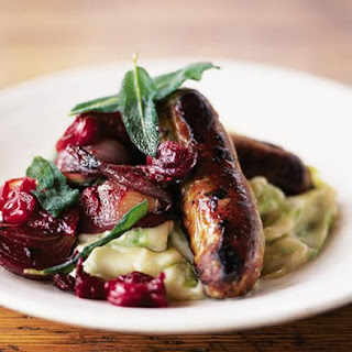 Sausages With Pan Cooked Chutney & Leek Mash