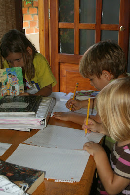 playing school, writing