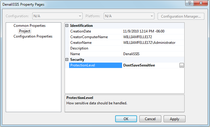 Denali SSIS project protection