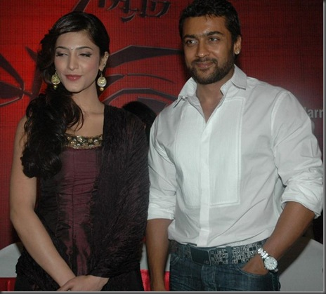 4 Suriya and Shruti Stills in 7 Am Arivu Press Meet